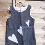 Girls denim applique heart ..