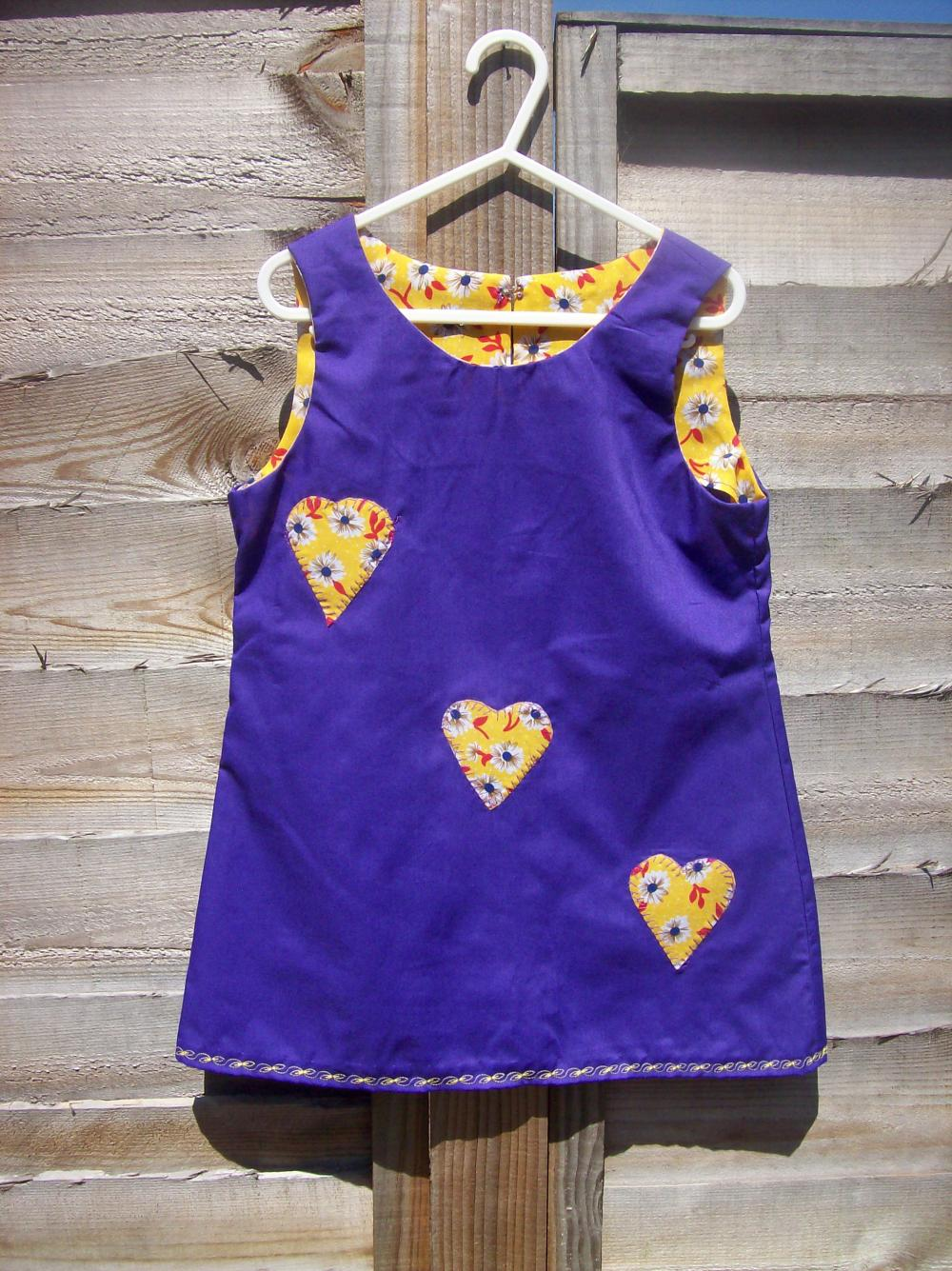 Girls purple pinafore heart applique pinafore dress