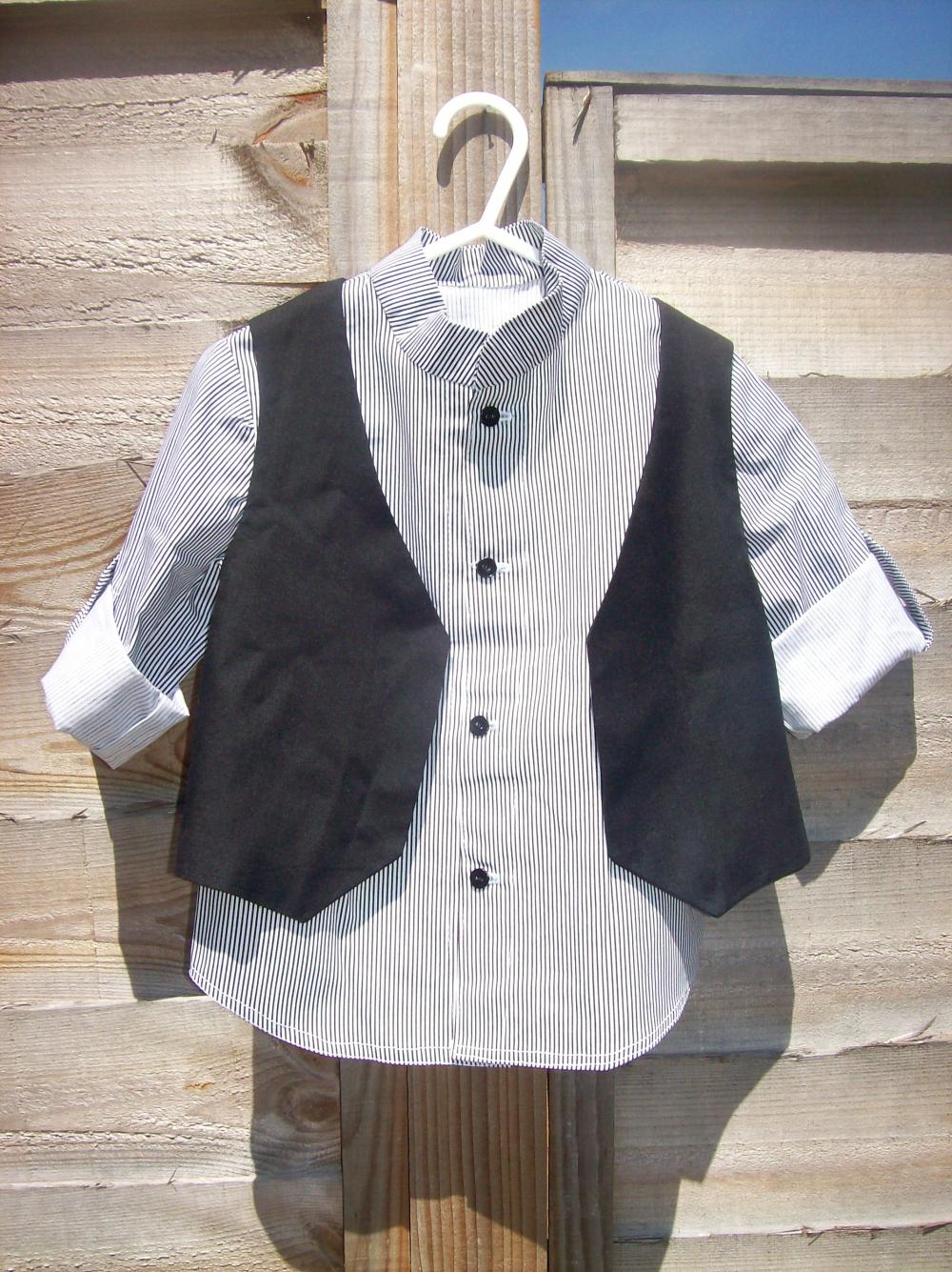 Boys black and white stripe shirt and waistcoat set.