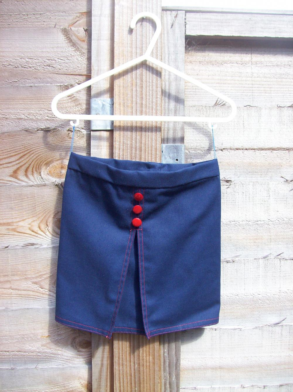 Girls navy and red box pleat skirt