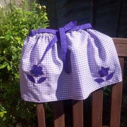 Baby girls purple gingham skirt, slippers, knickers/pant set