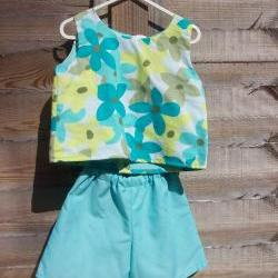 Girls turquoise blue sleeveless top and shorts set